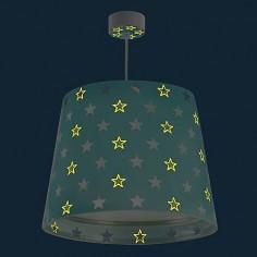 Lámpara de techo infantil Stars en verde aguamarina con estrellas