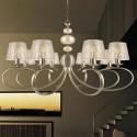 Lámpara de techo Eva de ocho luces en cuero con pantallas de nácar