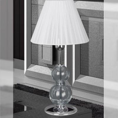 Lámpara de sobremesa en cromo y cristal con pantalla blanca de tablas