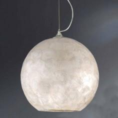 Lámpara colgante de bola en nácar blanco