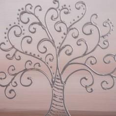 Set de dos cuadros de árbol con marco de madera