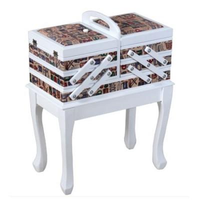 Costurero con patas en madera blanca y textil estampado