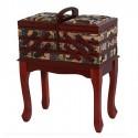Costurero madera con patas y textil estampado