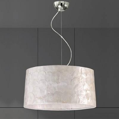 Lámpara colgante con pantalla en nácar blanco