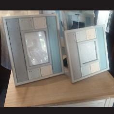 Set dos portafotos láminas de madera de colores