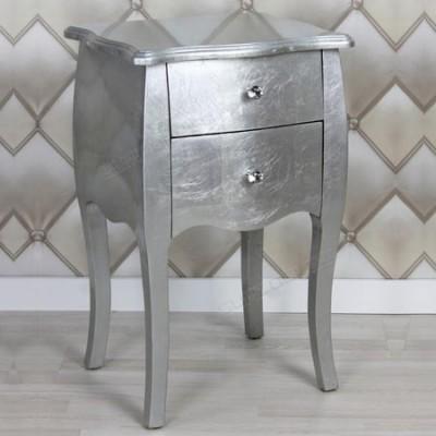 Mesita Silver en plata con dos cajones