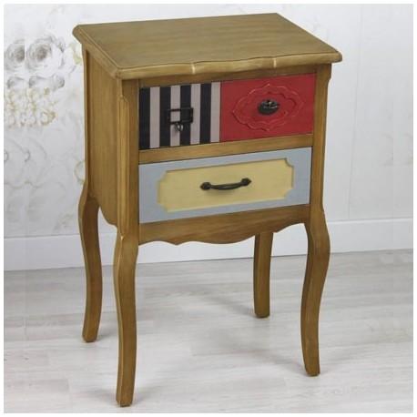 Comprar mesita de noche retro en madera con cajones de colores - Mesitas de noche en madera ...
