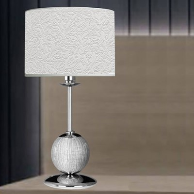 Lámpara sobremesa Bola en cromo con pantalla relieve blanca