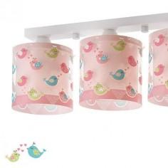 Lámpara de techo infantil Birds en rosa con tres luces