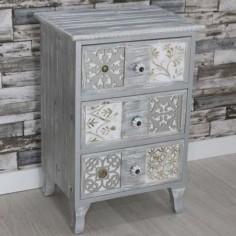 Mesita de noche madera patinada en plata y blanco con tallados