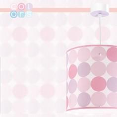 Lámpara infantil colgante Colors con lunares en rosa, fucsia y morado