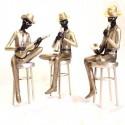 Set tres figuras decorativas de Músicos en champán, plata y marrón