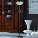 Pie de salón en cuero con pantalla en cristal tono crudo