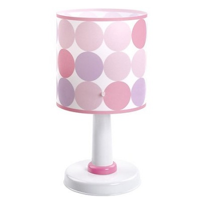 Lámpara sobremesa infantil Colors con círculos en fucsia, rosa y morado