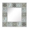 Espejo decorativo de pared cuadrado blanco con tallado plata