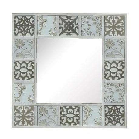 Comprar espejo decorativo de pared cuadrado blanco con for Espejos cuadrados grandes