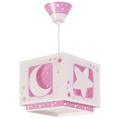 Lámpara techo infantil Moon Light cuadrada en rosa y blanco