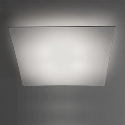 Lámpara plafón Line textil blanco cuadrado