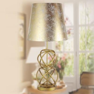 Lámpara sobremesa Livorno en dorado con pantalla en pan de oro