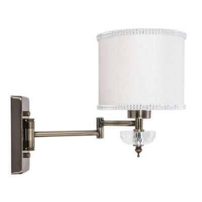 Lámpara pared Santa María articulada en cuero con pantalla blanco roto