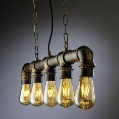 Lámpara techo vintage Bular cinco luces tubería efecto óxido