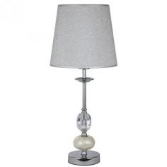 Lámpara sobremesa Empoli en cromo con pantalla gris y bola en nácar