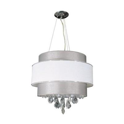 Lámpara colgante Alesund doble pantalla plata y blanco con cristales