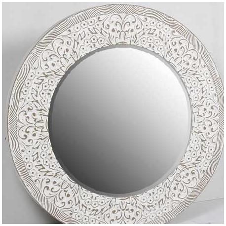 Comprar espejo decorativo redondo rozado blanco for Espejo redondo grande