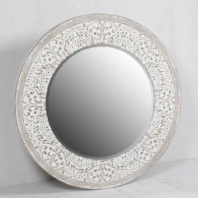 Espejo decorativo redondo rozado blanco