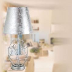 Lámpara de sobremesa Parma plateada pantalla pan de plata