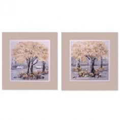 Set dos pinturas de árboles en caja color crema