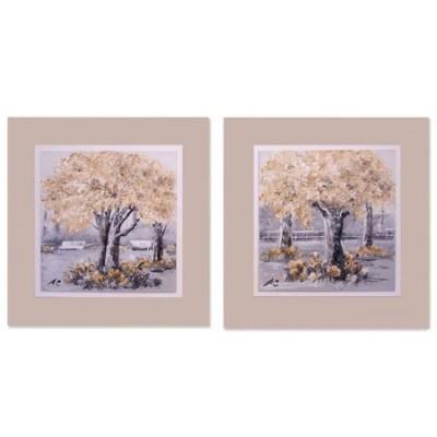 Set dos pinturas de árboles en caja con marco color crema