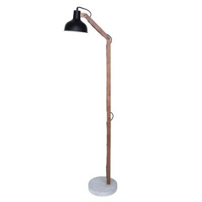 Lámpara de pie industrial Aspen en madera y cemento con pantalla negra