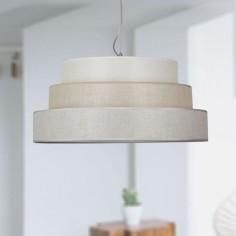 Lámpara colgante Setubal triple pantalla en gris, piedra y beige