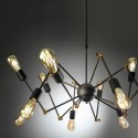 Lámpara de araña Atomic con doce luces en metal tono plomo