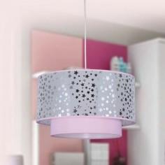 Lámpara colgante infantil Destellos doble pantalla en rosa con estrellas
