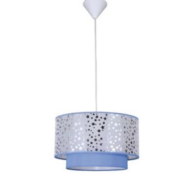 Lámpara colgante infantil Destellos en azul con estrellas