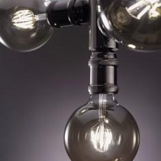Plafón vintage tubería Cora de tres luces metal acabado en grafito