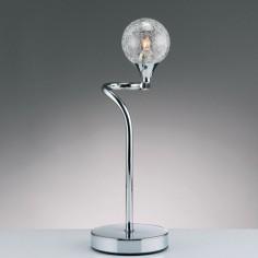 Lámpara de sobremesa Lotto en cromo con tulipa esfera cristal