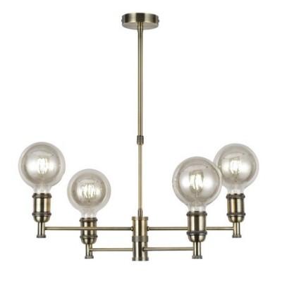 Lámpara techo vintage Miyako en cuero con cuatro luces