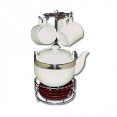 Juego de café de cuatro piezas con posa-vasos