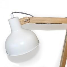 Lámpara mesa flexo LED Aspen madera y cemento con pantalla blanca