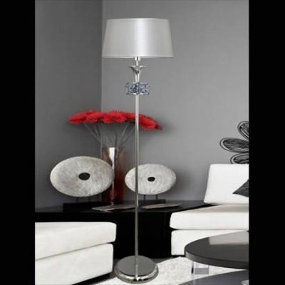 Pie de salón en cromo con pantalla nacarada y cristales decorativos