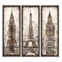 Set cuadros decorativos Monumentos madera beige y marrón con marco