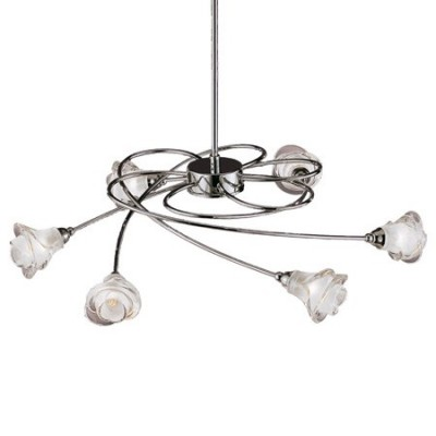 Lámpara de techo Lis en níquel satinado con seis luces y tulipas de flor