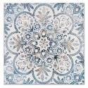 Pintura en lienzo cuadrado Grabados en azul y blanco