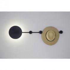 Aplique pared LED con perchero Han en color negro