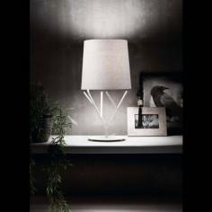 Lámpara sobremesa Tree blanca moderna en metal y textil