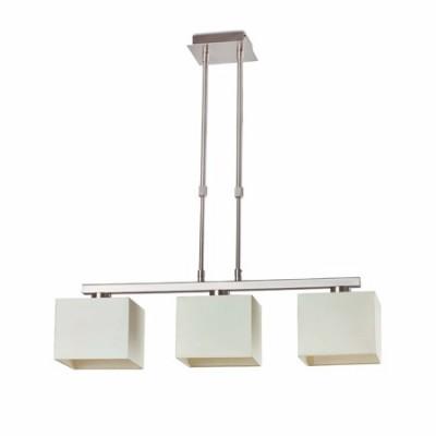 Lámpara techo Thana en cromo con tres luces pantallas cuadradas blancas