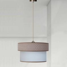 Lámpara colgante Topitos doble pantalla marrón y blanco